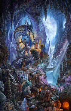 Dragonforge. An armoured woman riding the dragon + Dwarf women with dragon eggs. Matt Steward.