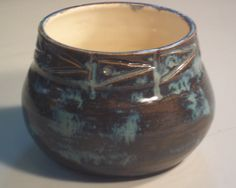Hand thrown carved stoneware pot in blue and by LindaMarshPottery, $15.00