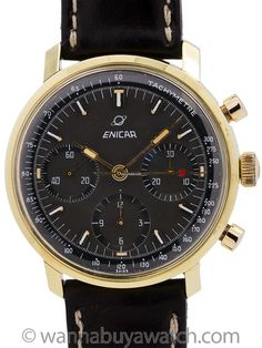 Exceptional condition vintage Enicar 3 registers manual wind chronograph circa Featuring a beautiful condition, gold filled top case with contoured lugs with screw down stainless… Modern Watches, Vintage Watches, Watches For Men, Vintage Models, Seiko, Dark Grey, Chronograph, 1960s, Usa