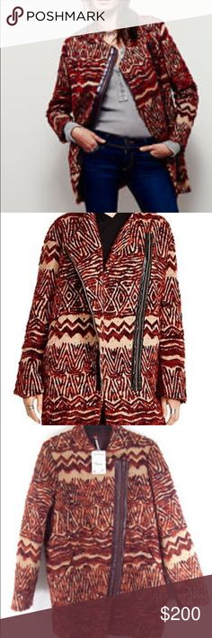 FREE PEOPLE Red Tribal Patterned Wool Coat(size M) Unique fur wool coat with an asymmetrical zipper and a cool Red tribal pattern! Size MEDIUM. It was love at first sight for me and this coat but sadly it ended up being too big on me and the size I wanted had sold out so I couldn't return it. I would be happy to either sell this coat or trade it for a size SMALL. :) Free People Jackets & Coats