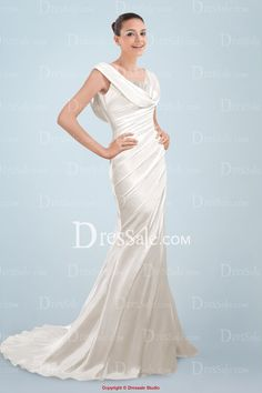Graceful Cowl Neckline Sheath Sweep Train Bridal Gown with Beaded detail