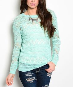 Look at this Aqua Geometric Cutout Crewneck Sweater on #zulily today!