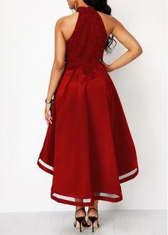 cf252b8283f7 Wine Red Sleeveless Lace Panel High Low Dress   modlily.com - USD $37.34 Mob