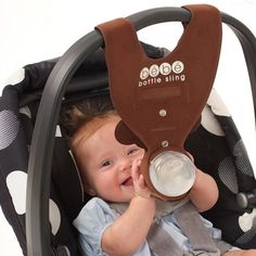 Bebe Bottle sling that hangs from the baby's car seat! It is a must have items for mumz who are busy with household tasks! This Bebe Bottle sling frees up at least one hand! The Babys, Our Baby, Baby Boys, Cute Kids, Cute Babies, My Bebe, Bebe Baby, Everything Baby, Baby Bottles