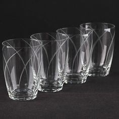 4 Vintage Becher Glashütte Konstein Gläser Bogen Schliff Gravur ~ 50er Jahre H2F