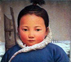 Xue Mo_Portrait of Mongolian Baby_oil on linen