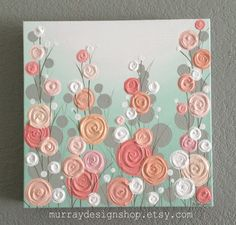 Nursery Wall Art, Mint, Coral, and Peach Textured Flowers, 12x12 Acrylic on Canvas, Ready to Ship