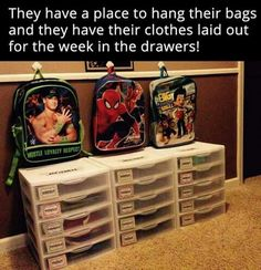 I love this ideal. I would add a small laundry basket by each one for the kid(s). This can also be used to help kids learn responsibility and make them fell like their opinion matters by letting them help pick out their clothes. School Organization, Organization Ideas, Organizing, Magazine Rack, School Bags, School Stuff, Homeschool, Baby Kids, Cabinet