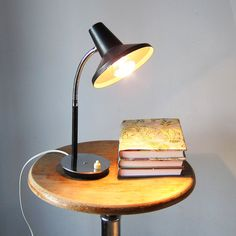 Mid Century Desk Lamp Re-wired; Black and chromed vintage Table Lamp from 1960s
