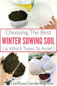 It's super important to use the right soil for winter sowing, otherwise the seeds may not grow. Learn how to choose the best soil (and what types to avoid). Garden Soil, Garden Seeds, Planting Seeds, Winter Vegetables, Growing Vegetables, Gardening For Beginners, Gardening Tips, Fill Dirt, Cold Climate Gardening