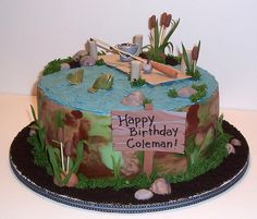 Another neat fishing cake. No waterfall though. Hmm...