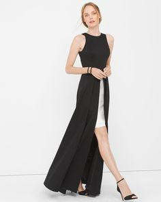"$300.00- The most-celebrated combination of tones, black and white, takes a dramatic turn with an interesting high-low, overlay design.    Colorblock overlay gown Lined  Polyester/nylon/spandex. Machine wash, cold.  Approx. 61"" from shoulder   Imported"