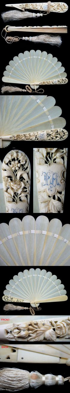Carved Faux Cow Bone Brise Fan Fächer eventail ventaglio abanico 1870