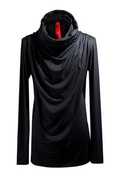 491aa3180f5 ByTheR Men s Fashion Modern Sherling Loose One Size Turtleneck T Shirt Black