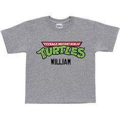 Personalized Teenage Mutant Ninja Turtles Retro Logo Youth Gray T-Shirt, Boy's