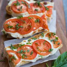 Tomato Basil Mozzarella Toasts | tastesbetterfromscratch.com