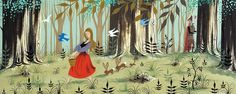 Eyvind Earle Sleeping Beauty Concept Art Philip sees Briar Rose in the forest Sleeping Beauty Cartoon, Sleeping Beauty 1959, Disney Concept Art, Disney Art, Eyvind Earle, Briar Rose, Fairytale Art, Visual Development, Les Oeuvres
