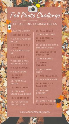 Fall Photo Challenge - 30 Fall Photography Ideas to Give Your Instagram Serious Fall Vibes!