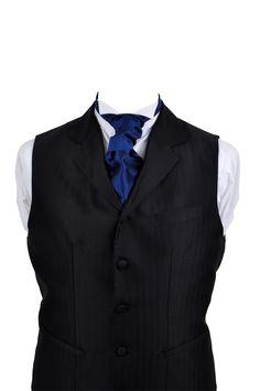 Cravat in blue silk taffeta