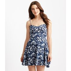 Aeropostale Ikat Print Fit & Flare Dress (490.820 VND) ❤ liked on Polyvore featuring dresses, classic navy, evening dresses, navy fit and flare dress, fit and flare cocktail dress, white dress and white evening dresses