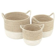 DecMode Charming Seagrass Basket - Set of 3 - Decorative Boxes & Baskets at Hayneedle