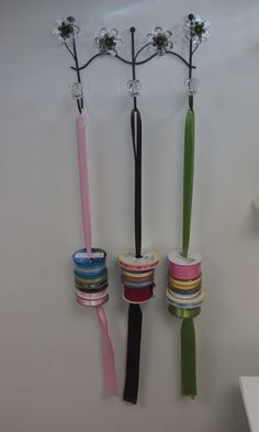 more Ribbon Storage EASY - Bastelraum - Sewing Room Storage, Sewing Room Organization, Craft Room Storage, Sewing Rooms, Organizing, Storage Ideas, Ribbon Organization, Ribbon Storage, Organization Ideas