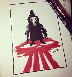 Inktober Day 08 - Punisher Original for sale at www.dereklaufman.com (link in my profile) #inktober2016 #inktober #tombow #brushpen #winsornewton #fanart #punisher #punisherskull #frankcastle #fanart #dereklaufman