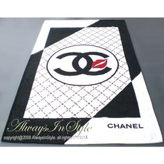 Authentic Chanel Beach Towel Black White Hearts CC Logo: Malleries: Always In Style Luxury Goods found on Polyvore featuring polyvore