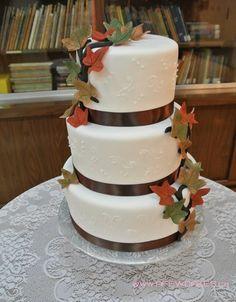 3 Tiered Fall Wedding Cake