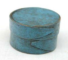 Rare round miniature pantry box in blue paint by mavis