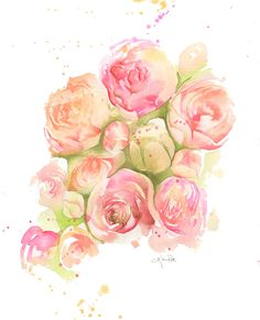 Watercolor Roses PRINT blossom painting by TheDailyWatercolor