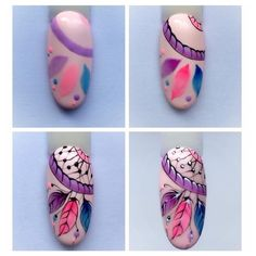 Attrapes rêves nail artYou can find Funky nail art and more on our website. Nail Art Hacks, Nail Art Diy, Cool Nail Art, Diy Nails, Cute Nails, Funky Nail Art, Funky Nails, Nail Art Plume, Dream Catcher Nails