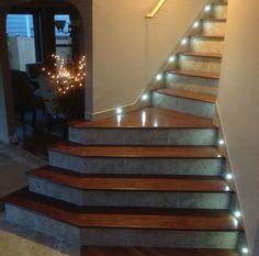 A Jatoba Hardwood Staircase With Porcelain Risers And LED Tread Lighting I  Built For The Linglebachu0027s
