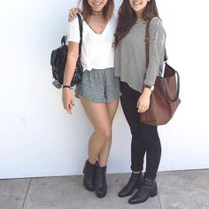 White loose v neck top, soft shorts & boots + striped half sleeve shirt, black jeans & boots