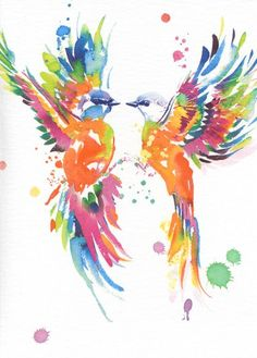 Blank card - 'Bright Birds'