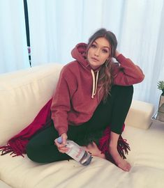 Gigi: Back on the couch now... but had a great day with Evian talking about my new Baby Bay campaign out this summer! @evianwater #evianbabybay #liveyoung #gigihadid