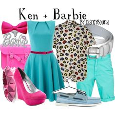 Ken + Barbie by leslieakay on Polyvore featuring Closet, Charlotte Russe, The Cambridge Satchel Company, Noir Jewelry, Band of Outsiders, Disney and disney