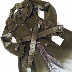 NWT Jessica Simpson Trench Coat NWT shimmery green satin trench coat by Jessica Simpson. Jessica Simpson Jackets & Coats Trench Coats