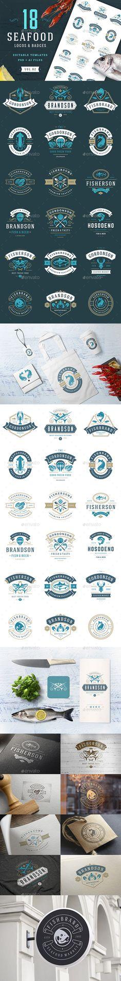 18 Seafood Logos & Badges - Templates PSD, AI