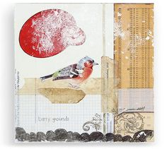 mary emma hawthorne collage paper illustration, bird series