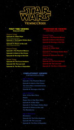 Star Wars: Viewing Order - I made this for anyone who wants to share their favourite franchise :)
