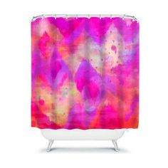 BOLD QUOTATION Revisited - Pink Chevron Shower Curtain Abstract Watercolor Ikat Pattern Fine Art Washable Home Decor Modern Stylish Bathroom