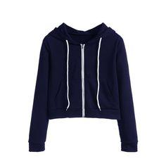 SheIn(sheinside) Navy Zip Up Pocket Hooded Sweatshirt ($17) ❤ liked on Polyvore featuring tops, hoodies, navy, zip up hoodies, blue hoodie, sweatshirt hoodies, long sleeve tops and navy blue hoodie