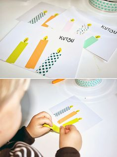 DIY Washi Tape Candle Cards - this is a cute idea for Hanukkah cards that the kids could make (Diy Candles Easy) Washi Tape Cards, Washi Tape Diy, Masking Tape, Diy For Kids, Crafts For Kids, Diy Pour Enfants, Gift Wrapping Techniques, Hanukkah Cards, Tape Crafts