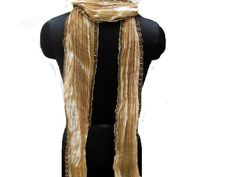 Men scarf/ unisex scarf/ cream colored scarf/ golden scarf / silk scarf/ long scarf/ fashion scarf/ gift ideas. by vibrantscarves on Etsy