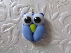 Fused Owl Pendant  Blue Owl Jewelry  Glass Owl by feesfusions