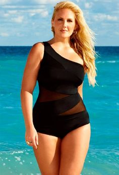 74% Off was $78.00, now is $19.98! Swim Sexy Black Mesh Plus Size One Shoulder Swimsuit Plus Size Swimwear
