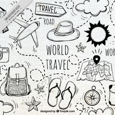 travel drawing Travel makes one modest, you see what a tiny place you occupy in the world. freepic travel traveller travelling world road foodie foodporn hotel restaurant 768426755156322791 Doodle Drawings, Doodle Art, Doodle Frames, Travel Doodles, Travel Icon, Travel Style, Travel Drawing, Bullet Journal Ideas Pages, Cool Backgrounds