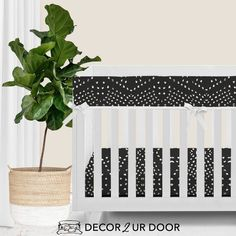 """Your dream boho, textured, and patterned-perfect nursery has arrived. We love this charcoal """"tile"""" inspired print in this bumperless baby bedding set. Add fun plants (like snake plants, fiddle leaf fig, or (fake) cacti) for pops of green. This may be one of our favorite boho + modern inspired nursery looks yet. Woodland Baby Bedding, Baby Boy Bedding Sets, Custom Baby Bedding, Baby Sheets, Baby Cribs, Nursery Bedding, Nursery Decor, Crib Rail Cover, Baby Changing Pad"""