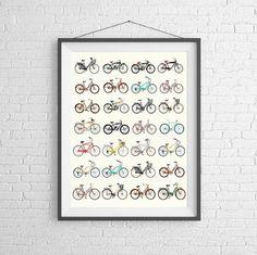 Bicycle Poster  Vintage Bicycles  Road Bikes & by PigeonStudios